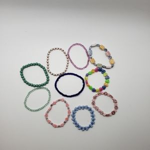 10 Beaded Stretch Bracelets for Little Girls